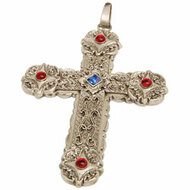 "Oxidized Silver Pectoral Cross ~ 3-3/8"" x 4-1/2"", Oxidized Silver with four red stones and one center blue stone on a 36"" rhodium plated chain"