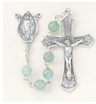 "Pewter rosary made with 6mm round genuine aventurine beads.  Exclusive designed sterling silver Miraculous centerpiece and pewter 2""crucifix. Handmade in the USA. Presented in a deluxe velour metal gift box"