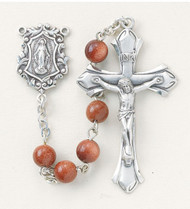 """New England pewter rosary made with 6mm round genuine gold sand beads. Exclusive designed sterling silver Miraculous centerpiece and sterling silver 1-7/8""""crucifix. Handmade in the USA. Presented in a deluxe velour metal gift box."""
