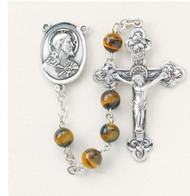 """Pewter rosary made with 6mm round genuine tiger eye beads. Pewter Scapular centerpiece and 1-3/4""""crucifix. Handmade in the USA with New England pewter. Presented in a deluxe velour metal gift box."""