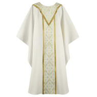 """Cream Chasuble with Tapestry Center with Gold Outline. Available in Standard 57"""" Wide x 51"""" Long or Ample 64"""" wide x 52"""" Long"""