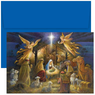 """""""A HOLY SCENE"""" Boxed Holiday Card  featuring four color printing. Inside Sentiment: """"MAY THE HOPE THAT WAS BORN THAT SILENT, HOLY NIGHT REMAIN IN YOUR HEART THROUGHOUT THE YEAR. MERRY CHRISTMAS"""" 18 cards/18 blue envelopes. Folded Card Size: 5.625"""" x 7.875"""". Packaged in a printed box with an inside fit acetate lid."""