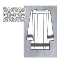 """Square Yoke Perma Press Surplice, 65% Poly 35% Combed Cotton with 5"""" Lace insertion.  Matching Alb 1215A also available. See sizing chart on product description page."""