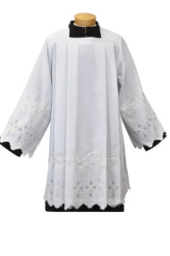 Tailored Priest Surplice, Easy Care, Style 1899. Washable surplice easy care polyester. Permanent Press.  Available in XS, S,M,L and XL.