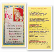 "Serenity Prayer in full color. ""The Gal in the Glass"" on reverse side. Clear hard lamination. Size: 2-1/2"" x 4-1/2""."