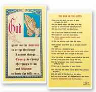 "Serenity Prayer in full color. The Man in the Glass on reverse side. Clear hard lamination. Size: 2-1/2"" x 4-1/2""."