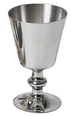 """Pewter or Gold Plated Chalice. 5-1/2"""" height. 3-3/8"""" diameter cup. 8 ounce capacity"""