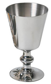 "Pewter or Gold Plated Chalice. 5-1/2"" height. 3-3/8"" diameter cup. 8 ounce capacity"