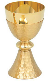 "Gold plated, hammered finish. 2-7/8"" base. 6"" height. 3-3/8"" diameter cup. 8 ounce capacity"