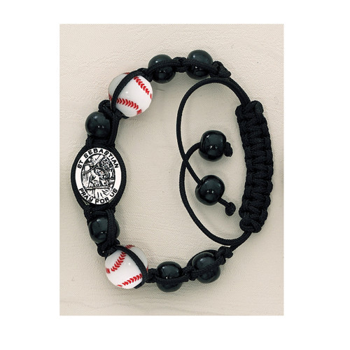 St. Sebastian Patron Saint of Athletes adjustable black leather corded bracelet with Baseball, Soccer, Basketball, or Football beads and St. Sebastian medal.