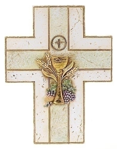 "My First Holy Communion Wall Cross with Chalice. Resin/Stone Blend. Measures 6.88""H x 5.25""W x 0.38. Gift Boxed. Matching picture frame and keepsake rosary box available."