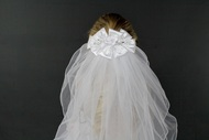 Barette with Satin Bow embellished with pearls and flowers with Veil