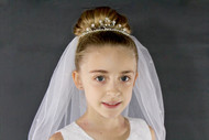 Communion Pearl and Crystal Tiara with scattered pearls throughout the veil