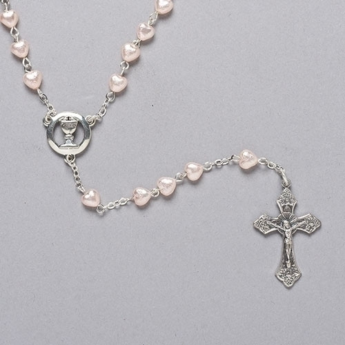 "First communion 18""L Heart Rosary. Rosary is made of 6mm Pearlized Pink Heart Shaped Glass Beads. Centerpiece is a Chalice Comes in a velvet box. A wonderful keepsake for any girl making her communion to treasure forever."