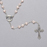 """18""""L  Heart Rosary. 6mm Pearlized Pink Heart Shaped Glass Beads. Comes in a velvet box"""