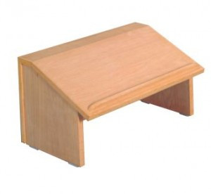 """The table top lectern measurements are 12""""H, 20""""W,15""""D; When folded, th etable top lectern measures  4 1/2"""" thick. Lectern is available unfinished or finished. Please make your selection in the options section. Orders may take up to 6 weeks for shipment"""
