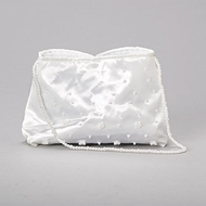 "Studded with pearls on exterior. This satin communion purse has a pearl shoulder strap. 56""H x 2""D x 7.5""L."