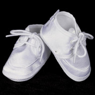 Boys Satin Shoes with Embroidered Cross . 100% Polyester, Cotton Flannel lining. Machine wash