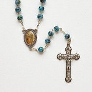 "18""L Our Lady of Guadalupe silver plated  multi colored teal rosary. 7mm glass beads ."