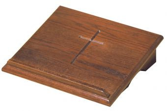 "Stationary missal stand top measures 15""W x  13""D. Cross is etched into top"