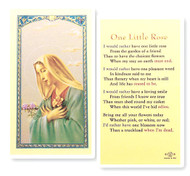 """Madonna pictured with One Little Rose.  Prayer on reverse side of laminated card. Size: 2-1/2"""" x 4-1/2""""."""