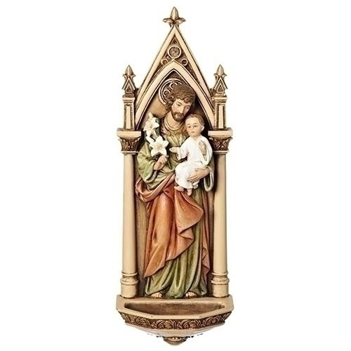 """7.75"""" Poly/Resin St. Joseph Holy Water Font."""