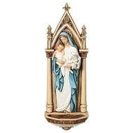 "7.5"" Mary with Child Holy Water Font. Poly/resin mix."