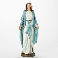 """18.25""""H Our Lady of Grace statue. This beautiful Our Lady of Grace Statue is made of a durable resin/stone mix. the dimensions of Our Lady of Grace statue are 18.25""""H X 6.5""""W"""