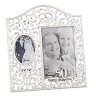 "9.25""H 50th Wedding Anniversary ""Clear Leaves"" Picture Frame.  Holds a 4x6"" and a 2x3"" photo. Made of zinc alloy and is lead free."