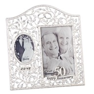 """9.25""""H 50th Wedding Anniversary """"Clear Leaves"""" Picture Frame.  Holds a 4x6"""" and a 2x3"""" photo. Made of zinc alloy and is lead free."""