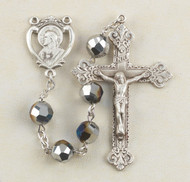 Metallic Silver Tin Cut Crystal Sacred Heart Rosary