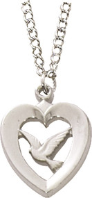 "Sterling Silver Heart with Holy Spirit pendant on an 18"" stainless chain."