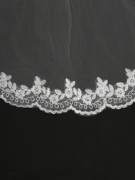 Mantilla Style Communion Headpiece. Thin border of lace flower and twirls.