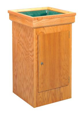 """Deposit box comes with a lock and door. Box is padded and baffled for security. Box comes with bag. Dimensions: 32"""" height, 18"""" width, 18"""" depth"""