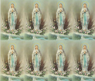 "Our Lady of Lourdes personalized Prayer Cards from the Bonella Line. Bonella artwork is known throughout the world for its beautiful renditions of the Christ, Blessed Mother and the Saints. 8 1/2"" x 11"" sheets with tab that separates into 8- 2 1/2"" x 4 1/4"" cards that can be personalized and laminated at an additional cost.  ( Price per sheet of 8)"