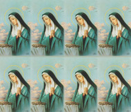 "Sorrowful Mother personalized Prayer Cards from the Bonella Line. Bonella artwork is known throughout the world for its beautiful renditions of the Christ, Blessed Mother and the Saints. 8 1/2"" x 11"" sheets with tab that separates into 8- 2 1/2"" x 4 1/4"" cards that can be personalized and laminated at an additional cost.  ( Price per sheet of 8)"