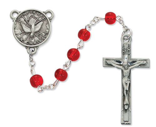 6mm Red glass beads with pewter crucifix and Holy Spirit center. Comes in a deluxe box. Great for confirmation gift!
