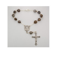 "This auto rosary measures 7 1/4"" long. The beads are a genuine Job's Tears with a silver ox papal crucifix and Madonna center. Comes with a clasp for easy hanging."