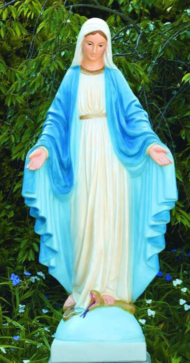 """This Blessed Mother outdoor statue is hand-crafted by local artists, making each one a unique original. The statue you receive may have a slightly different color, shape, size, and texture from the one shown. This statue comes in detailed stained for a natural cement finish. Please allow for 4-6 weeks for delivery.  Dimensions and Details: Height: 64""""  Width: 29"""" BW: 18"""", BL: 16.5"""" Detailed stain or natural cement finish Handcrafted and Made to Order. Allow 4-6 weeks for delivery Made in the USA"""
