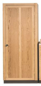 """Wardrobe comes with hanger pole and door lock. Dimensions: 80"""" height, 36"""" width, 30"""" depth. Matching Drawer Base (1230) and Hanging cabinet (1225) are also available. Note: All Sacristy Cabinets may be made to your specifications.  Proper installation required."""