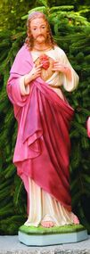 "Sacred Heart of Jesus Cement Handcrafted Garden statue. Made to order Details:  33""H BW: 9.25"" BL: 8.5"" Weight: 76 lbs Detailed stain or natural finish.  Made in the USA Please allow 4-6 weeks for delivery and call for delivery prices."