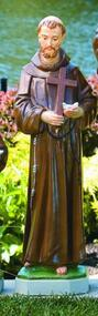 """St Francis 101533 Handcrafted Cement 32"""" Outdoor Saint Francis Holding Bird & Cross.  Height 32""""; Base: 8.5"""" Sq; Weight: 59 lbs. Allow 4-6 weeks for delivery.  Made in the USA!"""