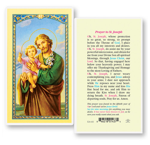 """Prayer to Saint Joseph. Clear, laminated Italian holy cards with Gold Accents. Features World Famous Fratelli-Bonella Artwork. 2.5"""" x 4.5"""""""