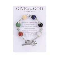 "7"" stretch bracelet made of semi precious stones with dangling charm ""Give it to God."" Prayer is included on card holding the bracelet."