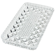 "Leaded Crystal Tray.  Measurements: 4 3/16""W X 7 1/2""L."