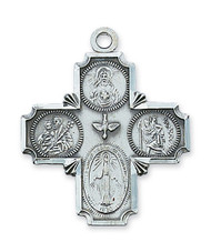 "Sterling Silver 4-Way Medal. Comes on a 24"" rhodium chain. Gift box included. Dimension: 1.5"" long. Made in the USA"