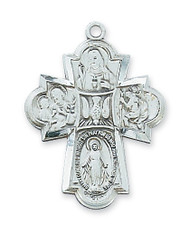 "Sterling Silver 4-Way Medal. Comes on a 24"" rhodium chain. Gift box included. Dimension: 1 1/4"" X 7/8"""