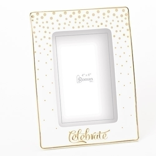 """Celebrate! This 8"""" porcelain frame holds a 4"""" X 6"""" picture. Perfect gift for any occasion!"""