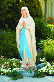 """Statue of Our Lady of Lourdes in two finishes. This statue of Our Lady of Lourdes is a beautiful and unique statue that can be a great addition to your garden. This statue is handcrafted and comes in a detailed stain or natural cement color.  Details:  Dimensions: 59""""H x 17""""BW x 15""""BL 420 lbs Made in the USA This statue is handcrafted and made to order and will take 4-6 weeks to complete."""