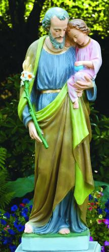 """Outdoor Classical Saint Joseph Holding Child Jesus Cement 55"""" Statue. Available in Natural Cement color or Detailed Stain.  Dimensions: 54.5"""" Height,  BW 14.5"""", BL 14"""",  Weight. 380 Lbs.   Allow 6 weeks for delivery. Made in the USA!"""